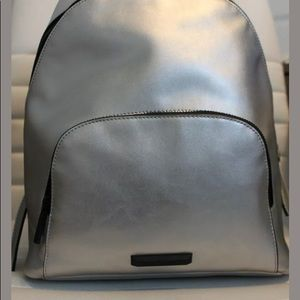 Kendall + Kylie Silver Backpack Vegan Leather NWT
